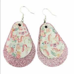 Floral unicorn earrings with pink glitter accent